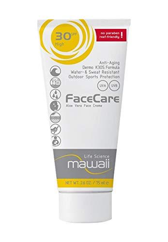 mawaiiFaceCare SPF 30 - wasserfeste und schweissresistente Sonnencreme für das Gesicht, reef-friendly, ideal für Wassersport und Outdoor-Sport, Anti-Aging Sonnenschutz, ohne Parabene (1 x 75ml)