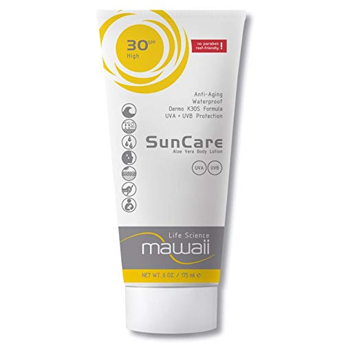 mawaii SunCare SPF 30 - wasserfeste und schweissresistente Sonnencreme, reef-friendly, ideal für Wassersport und Outdoor-Sport, Anti-Aging Sonnenschutz, Sonnenmilch ohne Parabene (1 x 175ml)