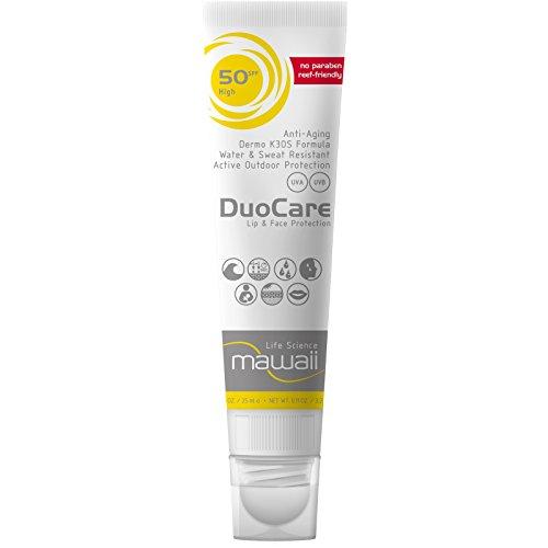 mawaii DuoCare SPF 50, Combi Face+Lips - wasserfeste und Sonnencreme für das Gesicht und Lippensonnenschutz, reef-friendly, ideal für Wassersport und Outdoor-Sport, (1 x 25ml + 3.2g)